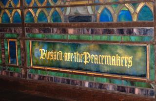 detail of Tiffany window, Blessed  Are the Peacemakers